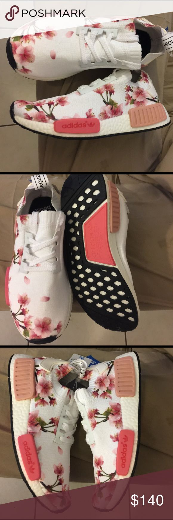 adidas nmd primeknit adidas nmd primeknit for women's size us 6,6.5,and 7.5 color pink/white as pictures, new authentic ALL SNEAKERS WHITH ORIGINAL BOX beautiful sneakers for any occasion........... SNEAKERS ARE CUSTOMIZED Adidas Shoes Athletic Shoes