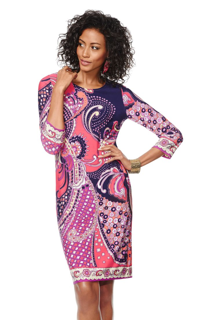 Chico's Paisley Patricia Dress. Short and chic, our retro-printed colorful dress is figure flattering and fabulous.