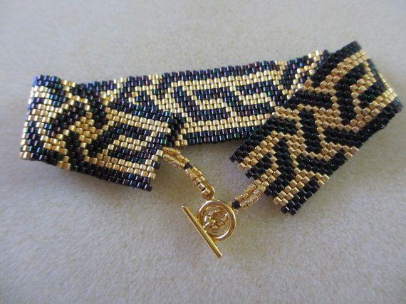 Purple Iris and Gold Peyote Bracelet
