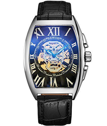 Sewor Luxe Homme Tête de mort mécanique automatique montre bracelet Bande de cuir Revêtement de verre Bleu: Taille: diamètre du boîtier:…