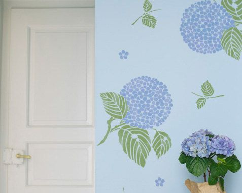 Large wall painting stencils japanese asian inspired hydrangea flower wall art stencil - Oriental stencils for walls ...