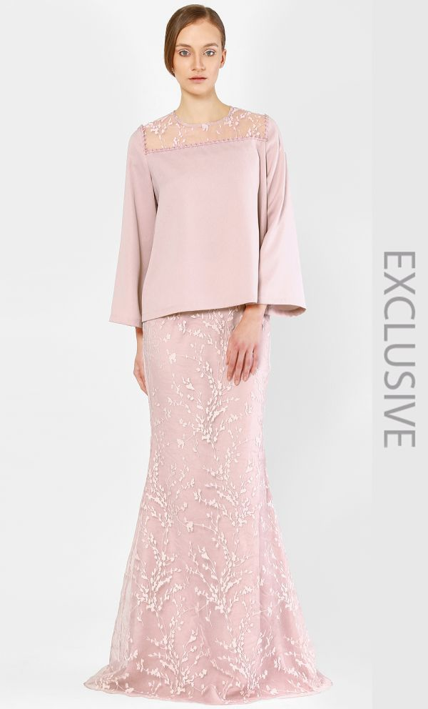 Alia B. The Kurung Kedah with Full Sakura Lace in Rose RM579.00