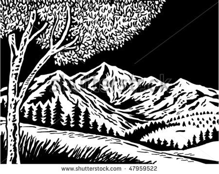 vector illustration of a Mountain scene with tree in foreground done in black and white #landscape #woodcut #illustration
