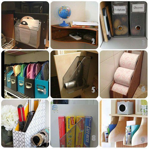 Una raccolta di idee per usi creativi dei raccoglitori da scrivania, in ferro, carta, o legno. Alcune davvero geniali, tutte utilissime per organizzare meglio gli oggetti in casa riciclando i raccog
