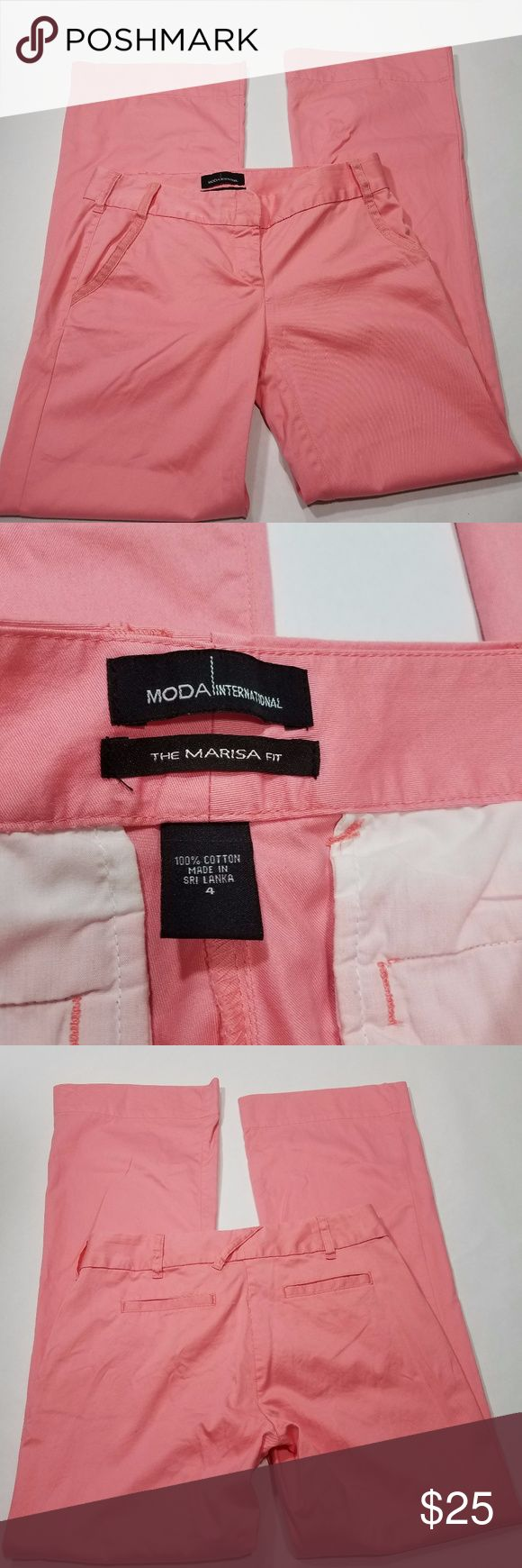 """Moda International Pink Trouser Pants Size 4 item Description: Moda International Womens Pink Marisa Fit Pants  Size: 4 Material(s): 100% Cotton Measurements: **laying flat and are approximate** 15"""" Waist, 8.5"""" Rise, 32"""" Inseam Color(s): Pink Zipper Closure: Yes Button Closure: Yes Pocket(s): Yes Moda International Pants Trousers"""