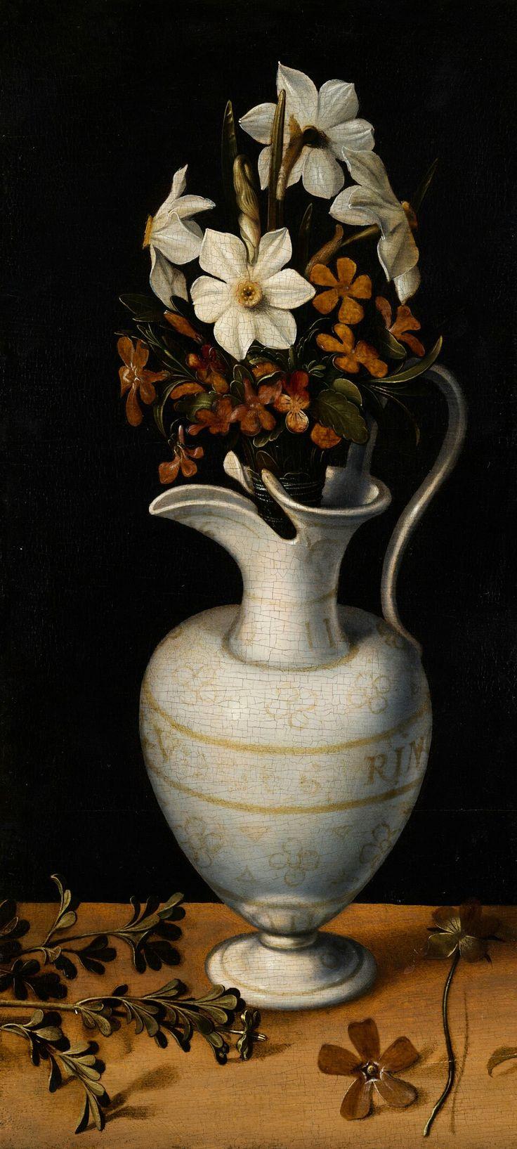 Ludger tom Ring II, 1562,  Narcissen, maagdenpalm en viooltjes in een kan, Mauritshuis.