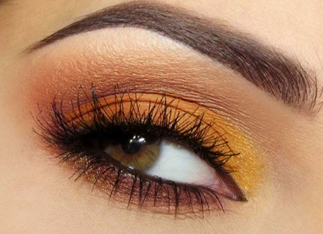 Trucco occhi castani sfumature arancio, Ombretti occhi castani, Intensificare gli occhi marroni