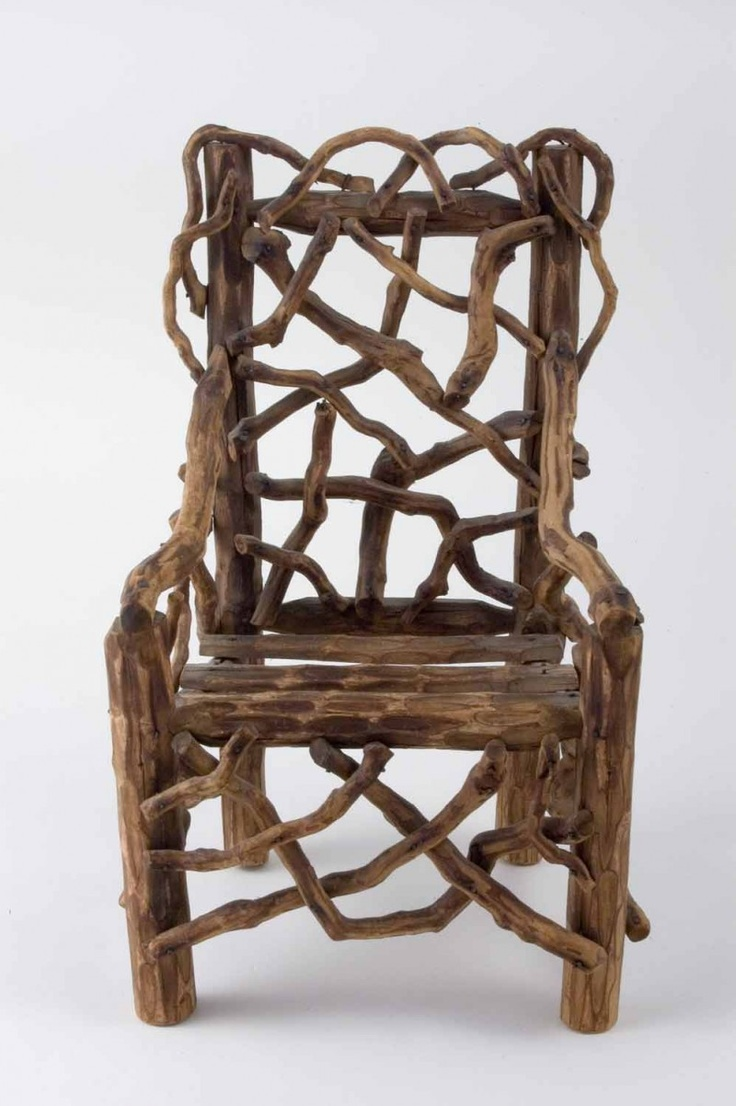 Miniature Rustic Arm Chair / Anonymous Maker, Not Dated / Carved And Shaped  Wood