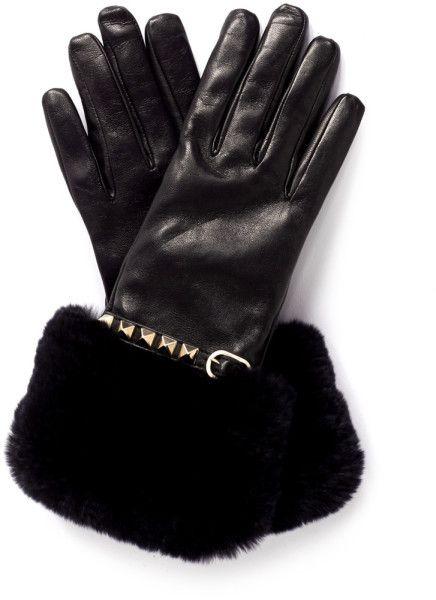 Valentino - Rockstud Fur Trimmed Leather Gloves