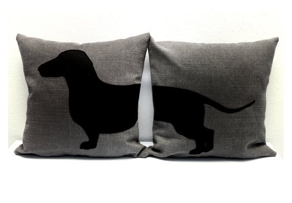 Dachshund sausage dog cushion covers  grey and by ItsTimeToDream, €40.00