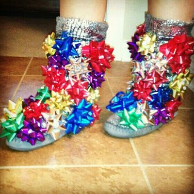 DIY Holiday Boots - Perfect for an ugly sweater party, holiday get together and holiday party! Just stick them onto a pair of slippers (indoor) or boots (outdoor)