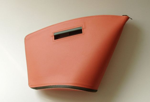 Handtasche - wendbare handtasche - petrol grün / lachs orange - ein Designerstück von bombdesign bei DaWanda