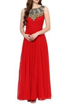 Red Georgette Floor Length Anarkali by Parul Grover, Anarkalis #weddingwear #sangeet #sangeetshopping #weddingshopping #indianwedding #anarkali #ethnicwear #indianwear