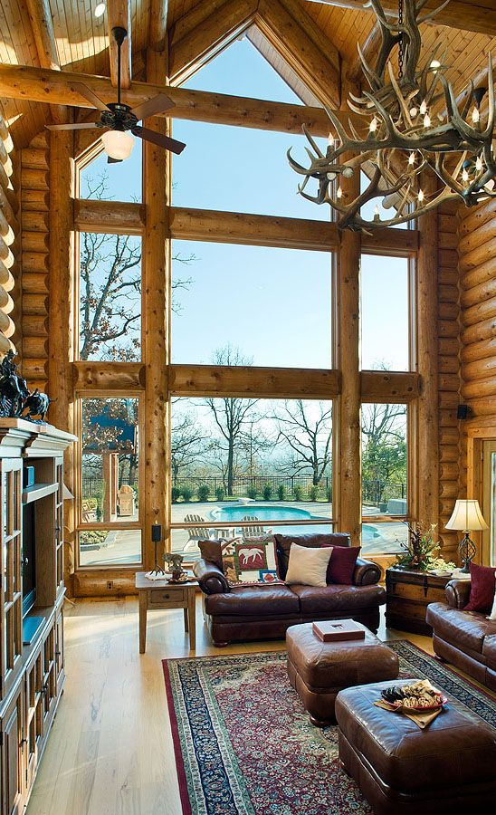 Log Home Great Room With Stunning Windows Log Home