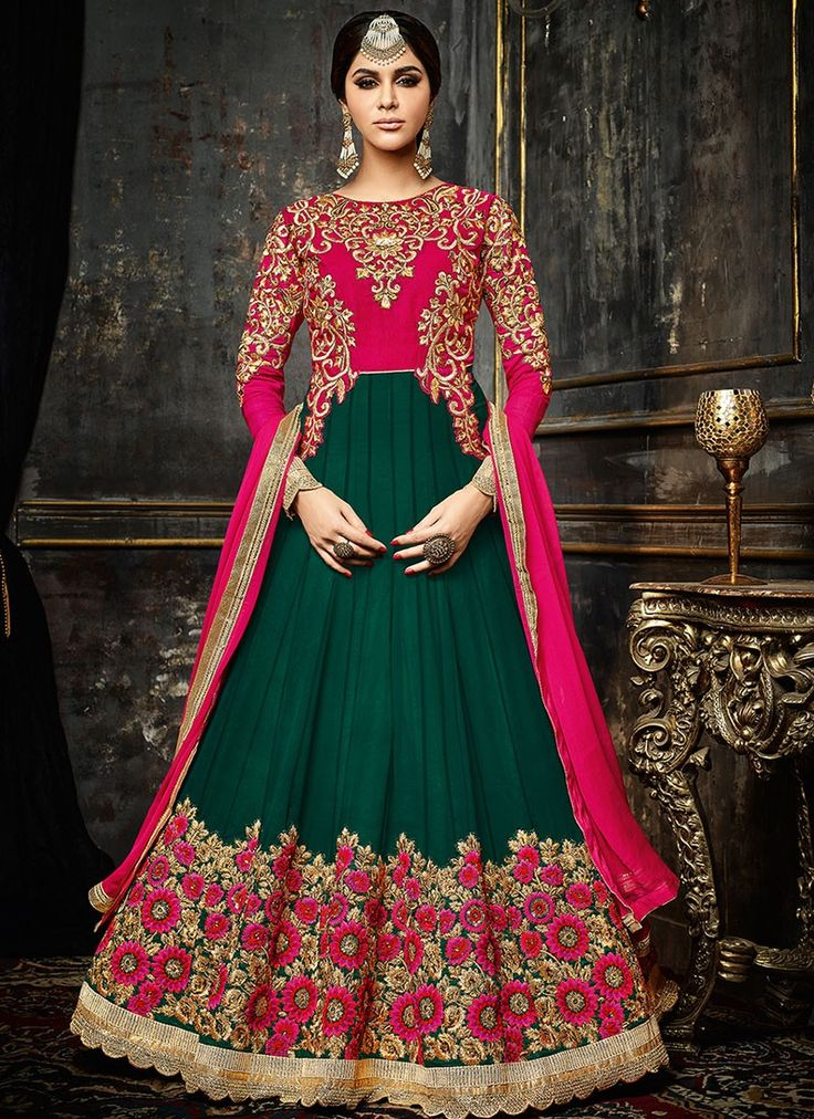 Exquisitely Embroidered Georgette Designer Anarkali In Green-Pink Color