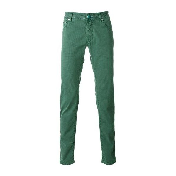 JACOB COHEN Houndstooth Pattern Jeans ($194) ❤ liked on Polyvore featuring men's fashion, men's clothing, men's jeans, men, pants, green, mens jeans and mens green jeans