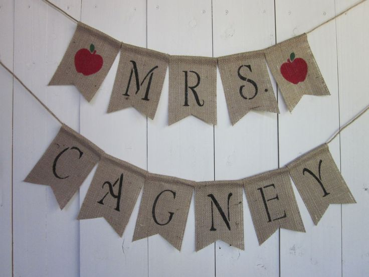 Teacher Name Banner - Favorite Teacher Bunting - Classroom Teacher Name Garland - Rustic Chic Burlap Custom Name Sign - Unique Teacher Gift by QuaintConfections on Etsy https://www.etsy.com/listing/471133644/teacher-name-banner-favorite-teacher