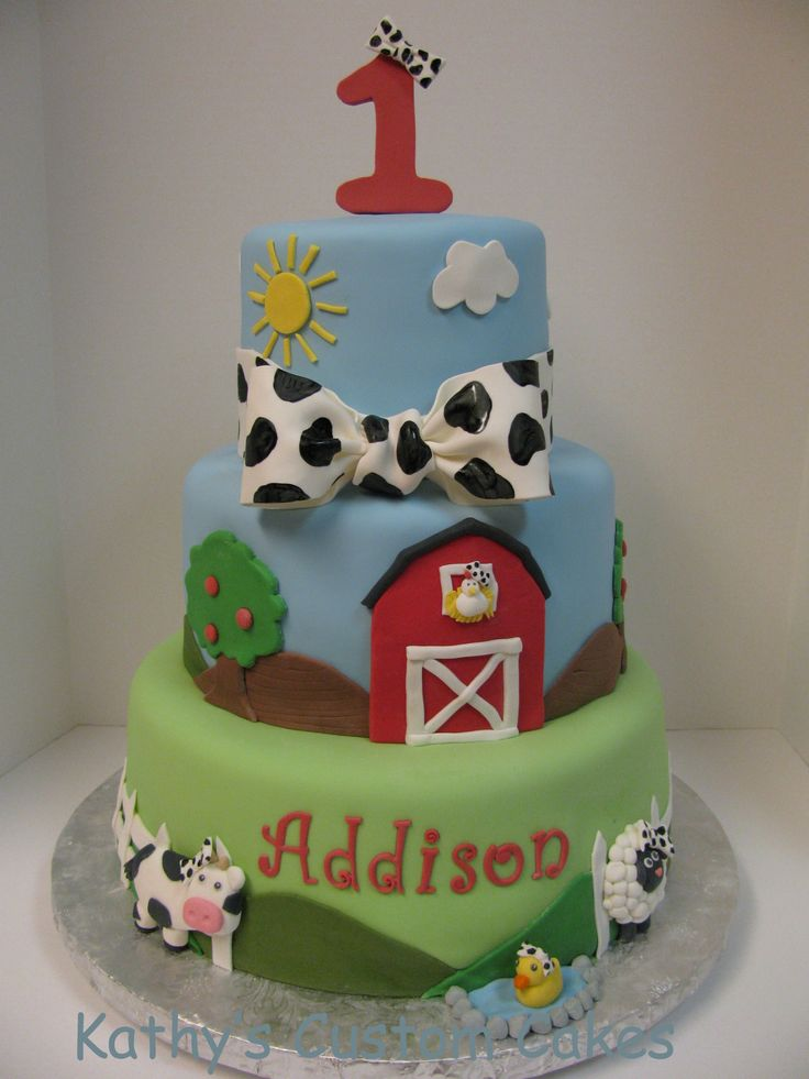 - First birthday cake.  All the little animals are wearing cow print bows just like the birthday girl.  So cute!  The last detail photo shows the little cow smash cake. I SOOO want to make this cake!