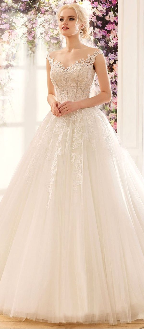 Amazing Tulle & Satin Bateau Neckline A-Line Wedding Dresses With Sequined Lace Appliques