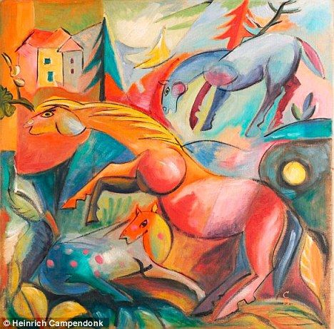 """My favorite fake: Heinrich Campendonk's """"Landscape with Horses"""", 1915. Faked by Beltracchi."""