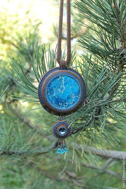 Купить Кулон с варисцитом - синий, кулон с камнем, украшения ручной работы, варисцит, Сваровски