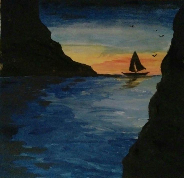 Dipinto con tempere  Barca a vela, tramonto sul mare