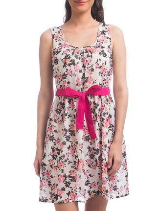 Buy Uptownie Lite Green Polyester Floral Printed Sleeveless Belted Dress Online, , LimeRoad