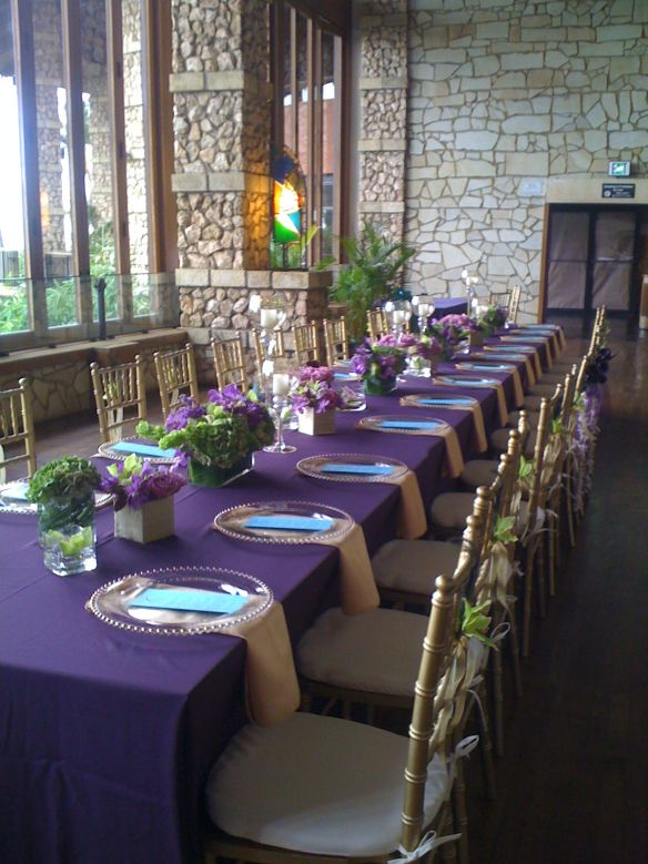 Purple wedding tablescape   wedding reception table decor   purple and gold wedding with teal accents
