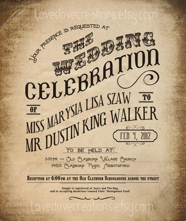 Steampunk Wedding Invitation   Vintage, Grunge, Western   Custom Invite.  $80.00, Via