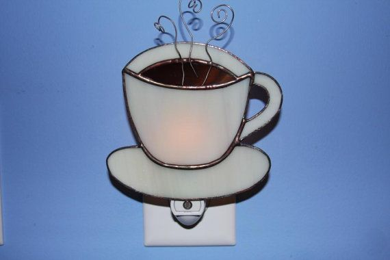 Cup of Joe Stained Glass Coffee Cup Night by stainedglassturtle, $32.95