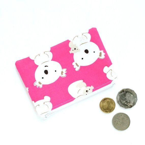 Pink Koala Coin Pouch, Lipstick Pouch, Ear Buds Pouch, Change Purse, Teachers Gifts, Small Fabric Purse, Australina Koala Purse, Zip Pouch