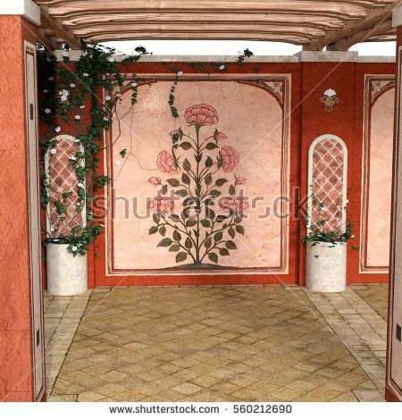 view of the pergola from the inside in daylight. Picture with flower. 3D rendering, 3D illustration