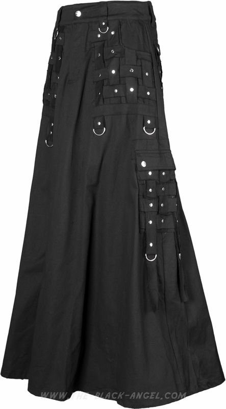 Gothic men's skirt by Queen of Darkness Clothing, with cargo pockets and strap detail.