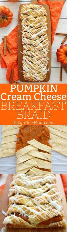 You'll never believe how easy it is to make this Pumpkin Cream Cheese breakfast braid recipe! Made with refrigerated crescent roll dough, and a few other ingredients, this gorgeous pumpkin pastry will look like you bought it at a fancy bakery!