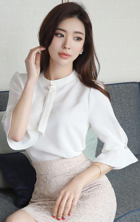 StyleOnme_Pearl Neck Tie Ruffle Sleeve Blouse #ivory #pearl #blouse #ruffle #feminine #elegant #koreanfashion #kstyle #kfashion #seoul