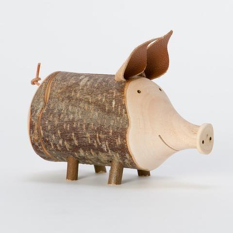 Twiggy Piggy - decoratie(spaarpot) houten varken van tak of stam, oren en staart van leer(dier hout)