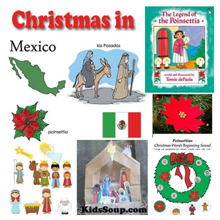 Christmas in Mexico Ideas for the Classroom - Las Posadas and nativity scene printables, poinsettia crafts and activities and more