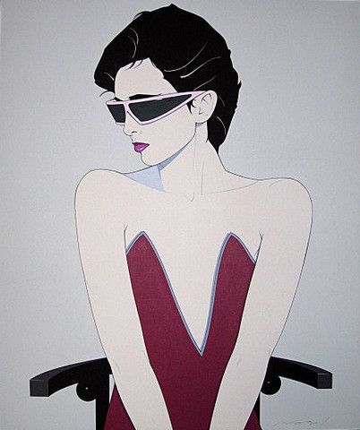 patrick nagel woman | The 80s Gallery — Patrick Nagel Original Canvas Seated Woman with ...