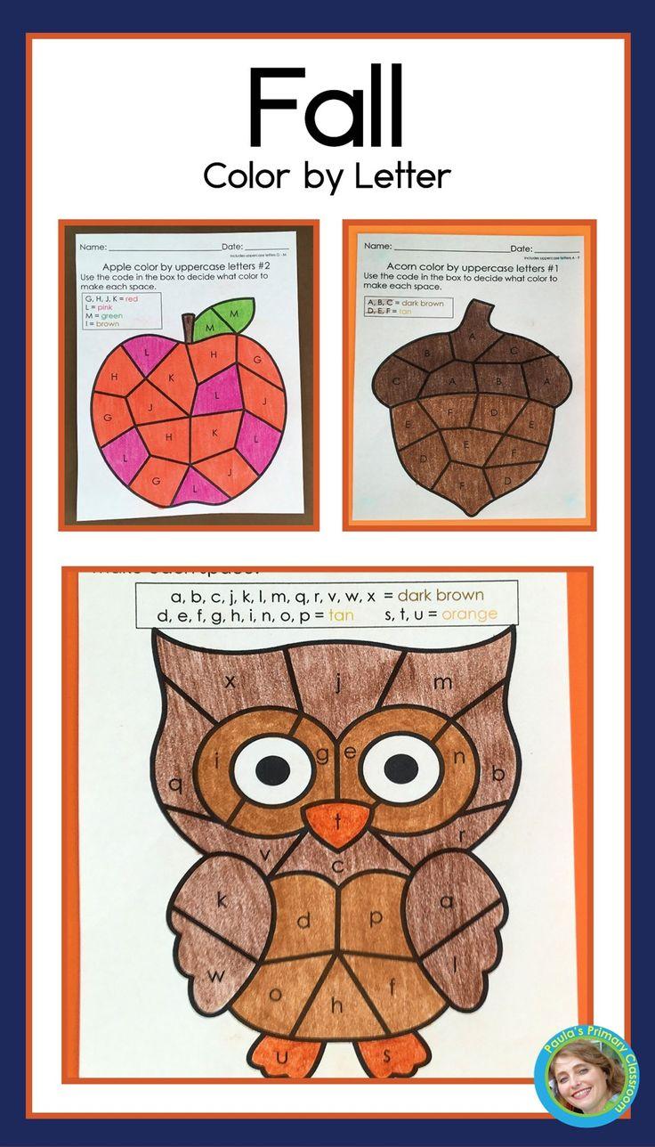 Fall Alphabet Worksheets Color By Letter Kindergarten Literacy Alphabet Preschool Worksheets