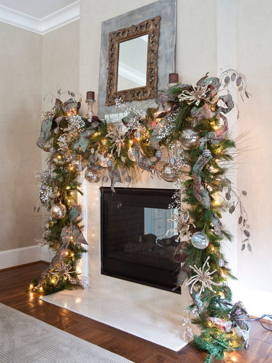 Christmas Garland Ideas For Small Fireplace : Images about christmas on