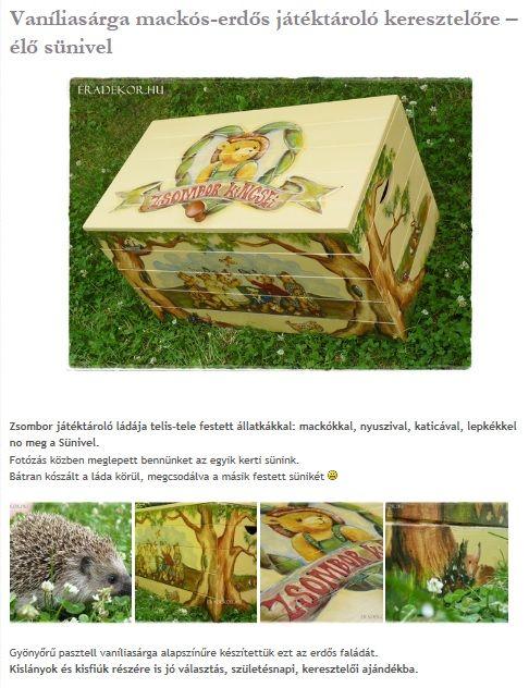 Vaníliasárga játéktároló láda élő sünivel. Nézd meg, katt az alábbi linkre >> http://eradekor.hu/keresztelo-ajandek/vanilia-maci-suni-jatektarolo-lada/