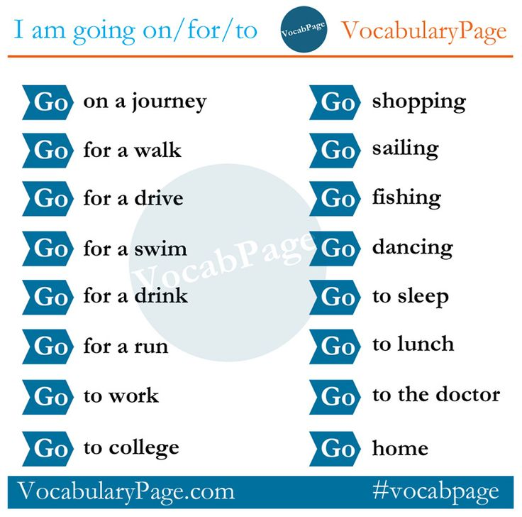 I am going on/for/to #English www.vocabularypage.com