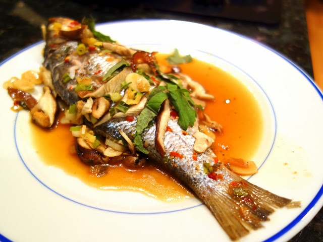 Cantonese dish- Asian Steamed Fish with Ginger and Scallions ...