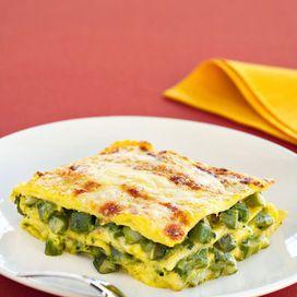 Lasagne allo zafferano con asparagi