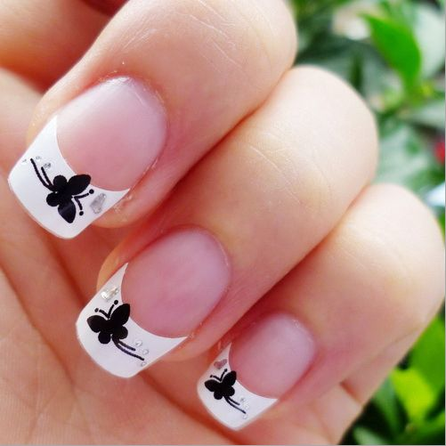 Free Shipping 2014 New 3D Nail Art Stickers Decal White French Tips Manicure Black Butterflies Clear Crystals Design Foils Tools