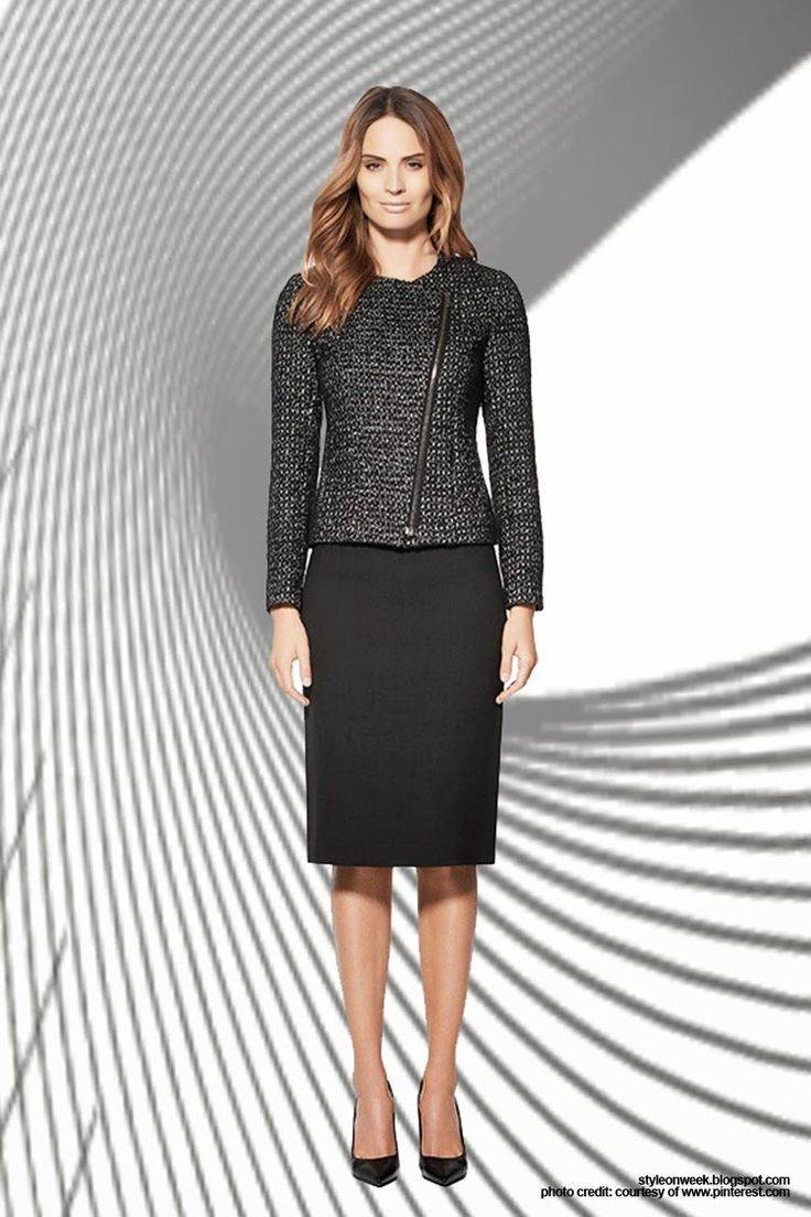 "Simple Pieces for Your Office Wardrobe Update.  Polished, poised and ready for any client meeting. Hello, promotion — corner office here you come. ""A pencil skirt with a leather waistband is a great, subtle way to inject style in a more conservative setting,"" says Pizzimenti. Jefferson Jacket, $435 and Strand Skirt, $295 at Judith & Charles."