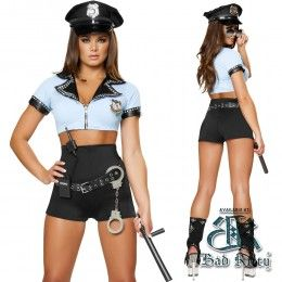 Our Sexy Police Officer Hottie Costume is a 8pc set! With crop top, high waisted shorts, hat, belt, baton, walkie talkie and hand cuffs! Its a deluxe Halloween Costume that will turn everyones head! $70.00 #SexyHalloween #SexyCop #NaughtyCop #BadCop #Naughty #Sexy #Fun #Halloween #BadKitty