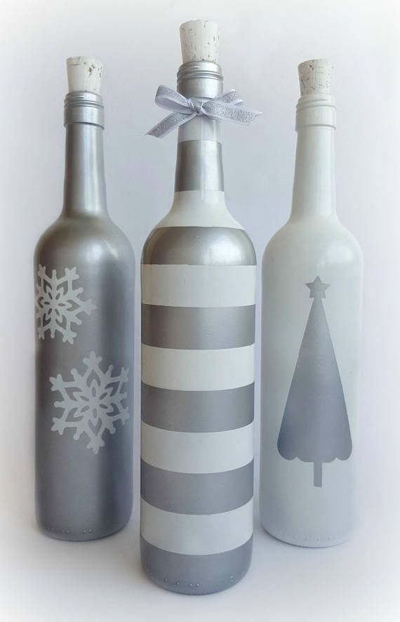 Christmas Wine Bottles / Silver and White Painted Bottles /