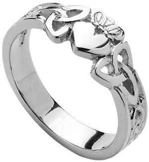 Ladies Sterling Silver Trinity Knot Claddagh at Claddaghrings.com #claddaghrings #valentinesgifts $65.00