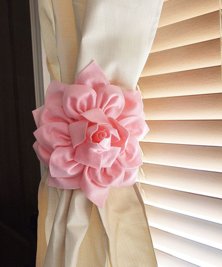 ALL ITEMS ARE MADE TO ORDER PLEASE SEE SHOP FOR CURRENT CREATION TIME!!! SET OF TWO Light Pink Dahlia Flower Curtain Tie Backs Tie Your Curtains Back in Style! These flowers are sure to make a stateme